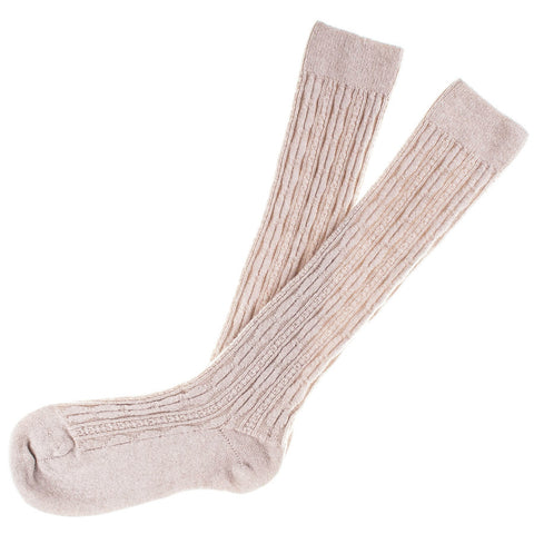 Ladies Long Vanilla Cashmere Socks