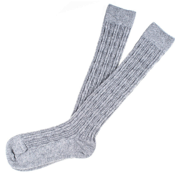 Ladies Long Grey Cashmere Socks