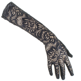 Long Black Fine Lace Gloves