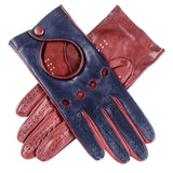 Ladies Navy and Burgundy Leather Driving Gloves