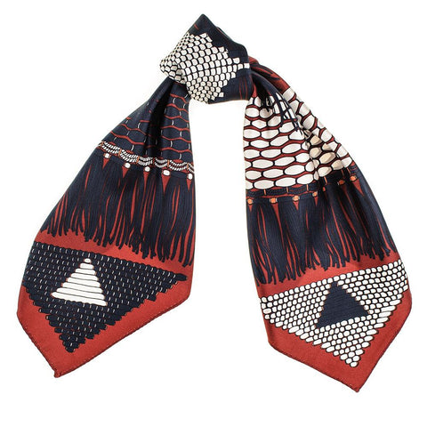 Claret and Navy Abstract Twill Silk Scarf