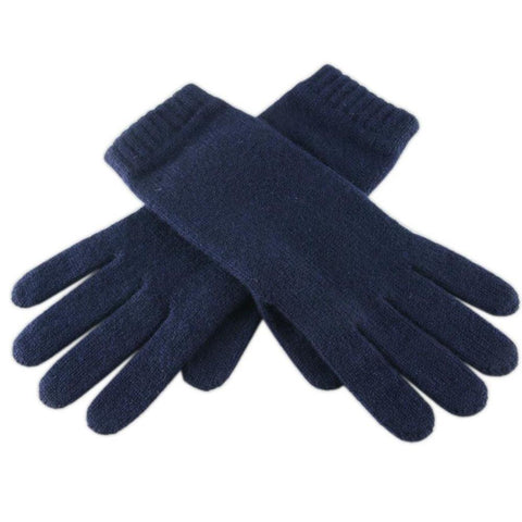 Ladies' Navy Blue Cashmere Gloves