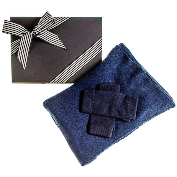 Navy Oversized Cashmere Scarf and Cashmere Mittens Gift Set