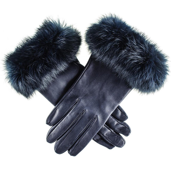 Ladies Navy Leather Gloves with Rabbit Fur Cuff