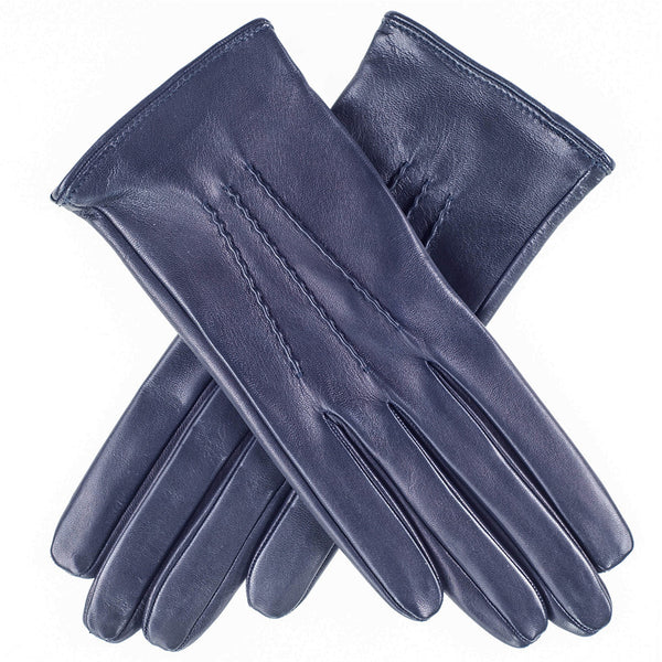 Midnight Navy Silk Lined Italian Leather Gloves