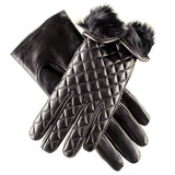 Rabbit Fur Lined Italian Quilted Leather Gloves