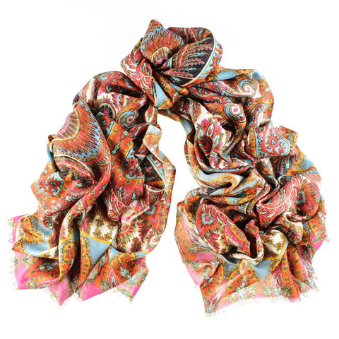 Paisley Print Cashmere and Silk Scarf