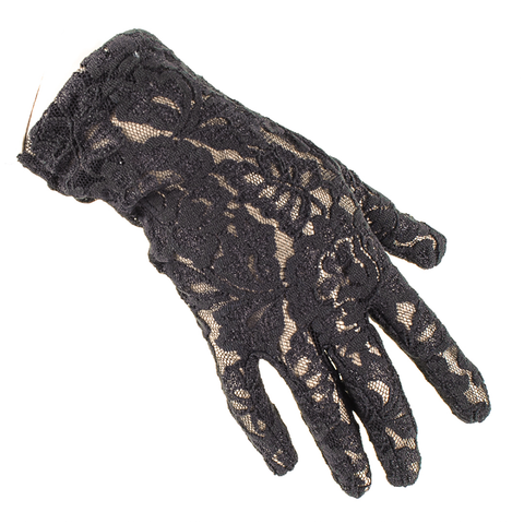 Short Black Fine Lace Gloves