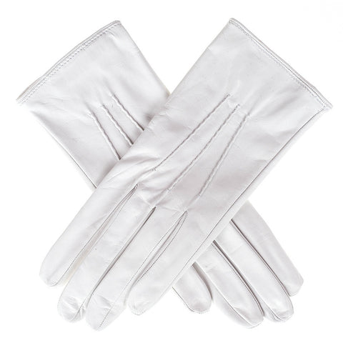 Ivory Silk Lined Italian Leather Gloves