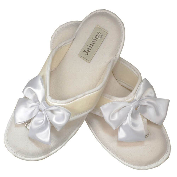 White Velvet and Satin Thong Slippers