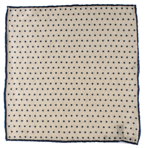 Navy and Natural Polka Dot Cashmere Pocket Square