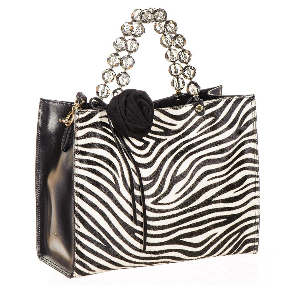 Zebra Print Calf Hair and Black Leather Mini Bag FtzJDGG