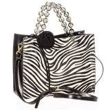 Zebra Print Calf Hair and Black Leather Tote