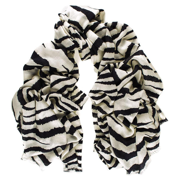 Zebra Print Silk and Merino Wool Scarf