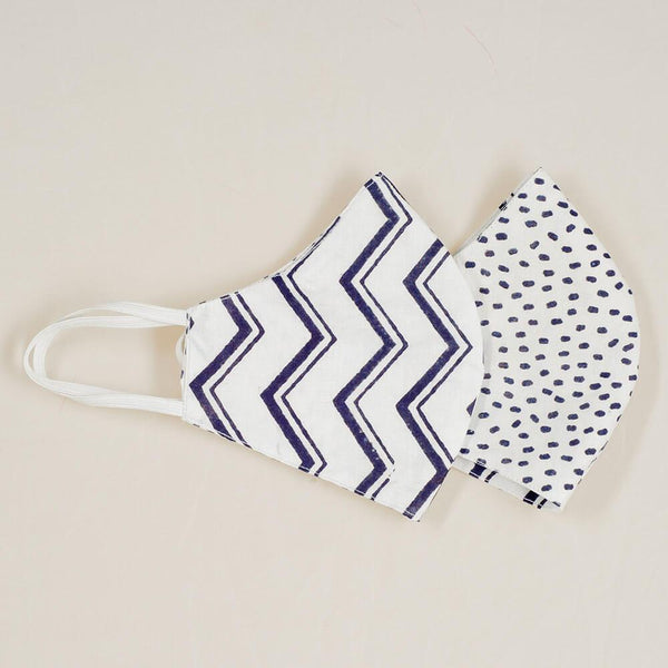 Polka Dot and Zig Zag Reversible Organic Cotton Face Mask