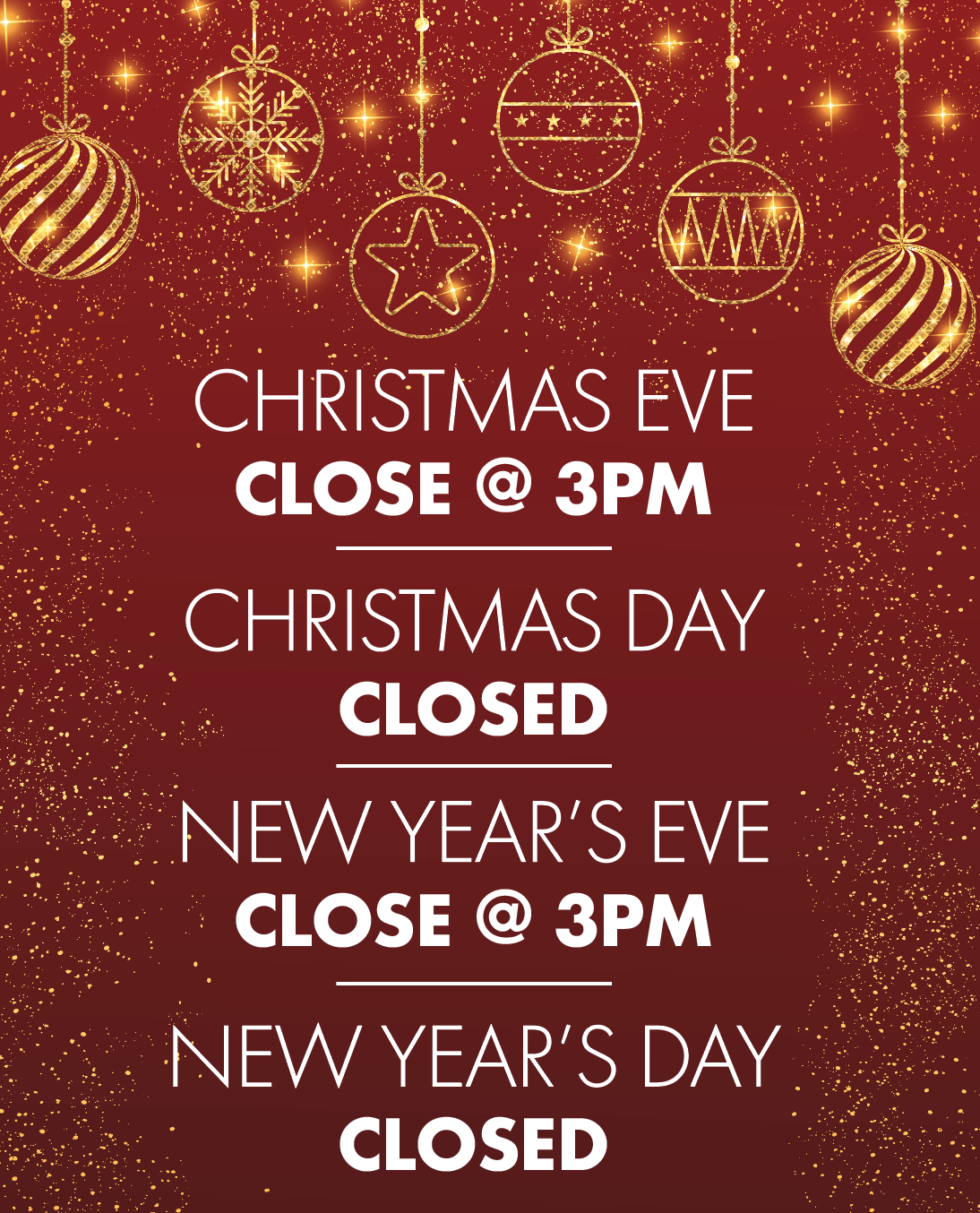 2019 Holiday Business Hours