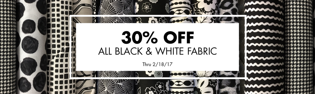 30 off black and white fabric