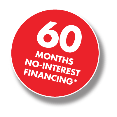 60 Months Interest Free Financing