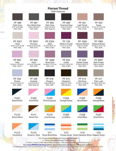 Floriani Thread Color Chart
