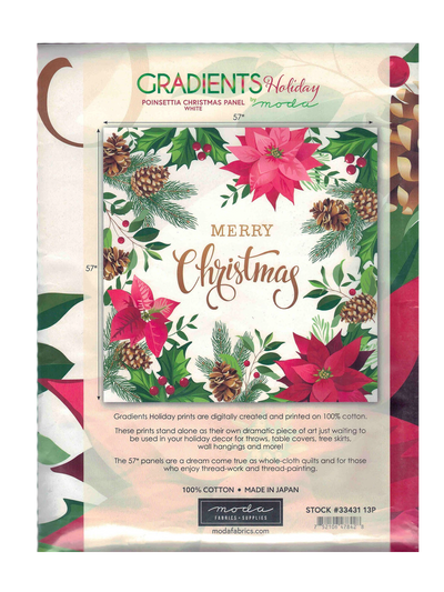 Holiday Poinsettia Christmas Panel by Moda