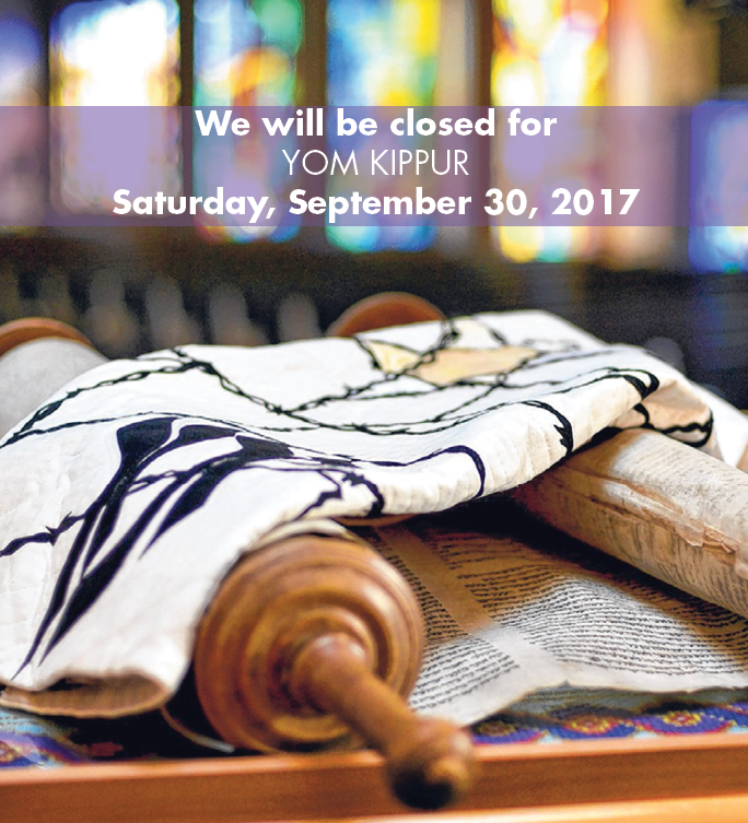 Closed for Yom Kippur