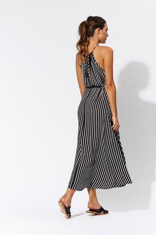 eb & ive  INES MAXI DRESS  black stripe - the clothing edit