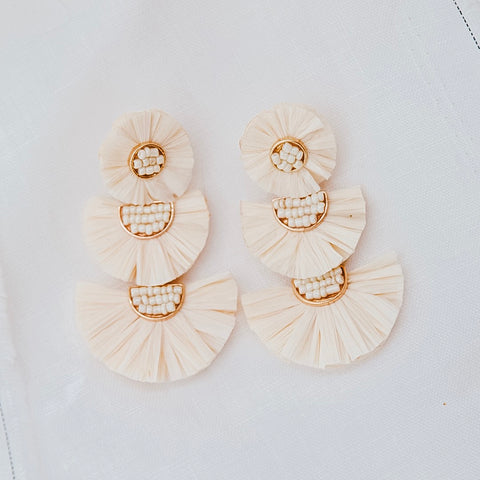 sable and dixie  PIP TRIO DROP CREAM earrings - the clothing edit