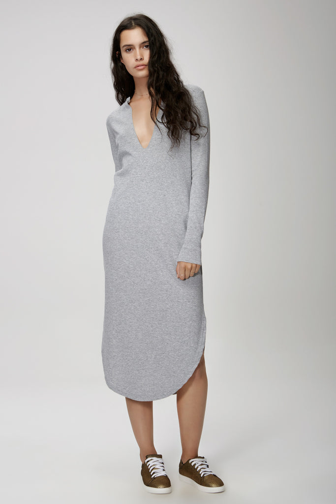 The Fifth Label FLY WITH ME LONG SLEEVE DRESS  grey marle - the clothing edit