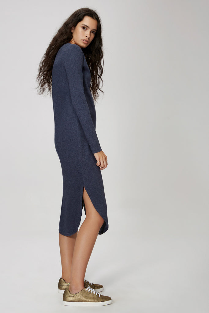 c12aa898f1 ... The Fifth Label FLY WITH ME LONG SLEEVE DRESS navy marle - the clothing  edit ...