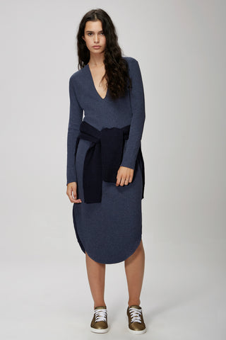 The Fifth Label FLY WITH ME LONG SLEEVE DRESS  navy marle - the clothing edit