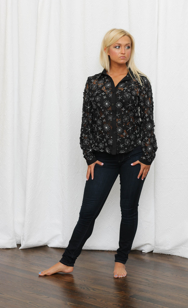 Night Flower Button Up Blouse