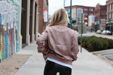 Dusty Rose Satin Bomber