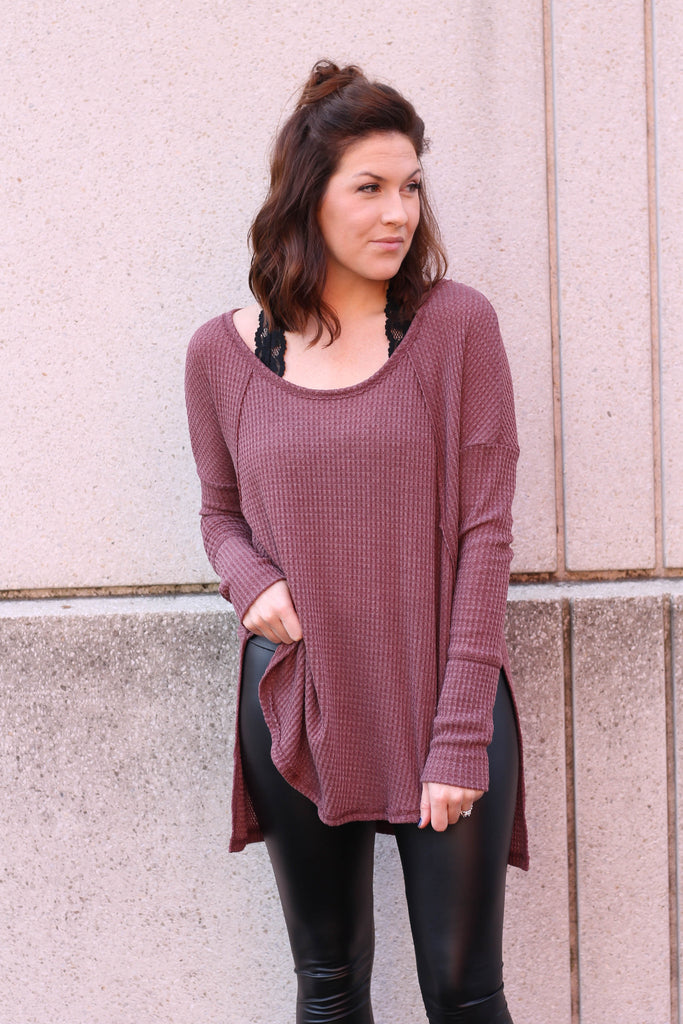 Burgundy Thermal Knit Top