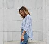 Blue & White Stripe Top
