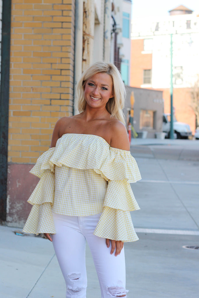 Gingham Style Off The Shoulder Top