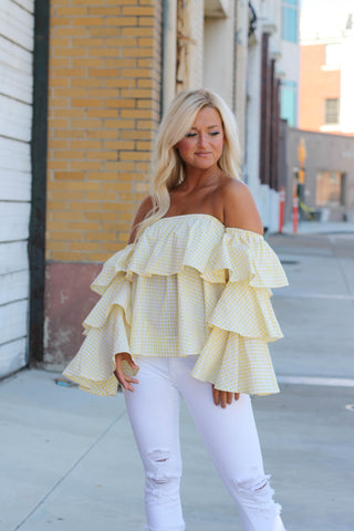 Flirty Off the Shoulder Striped Top **ONLY 1 LEFT!!**