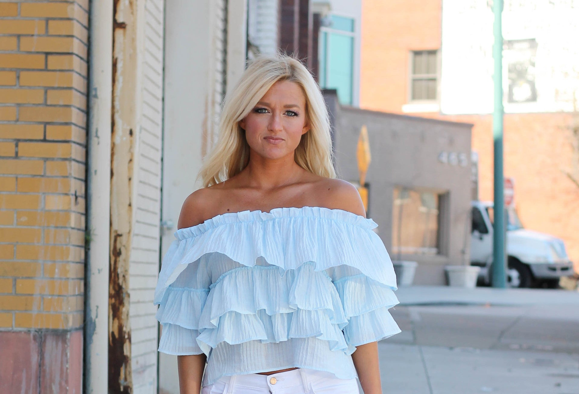 blue ruffle off the shoulder top