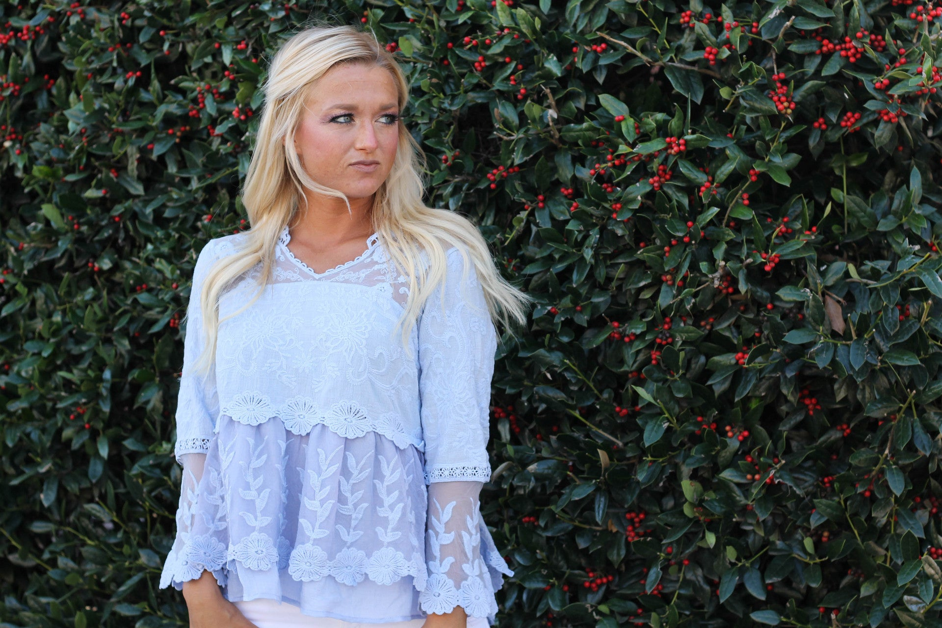 blue boho lace blouse