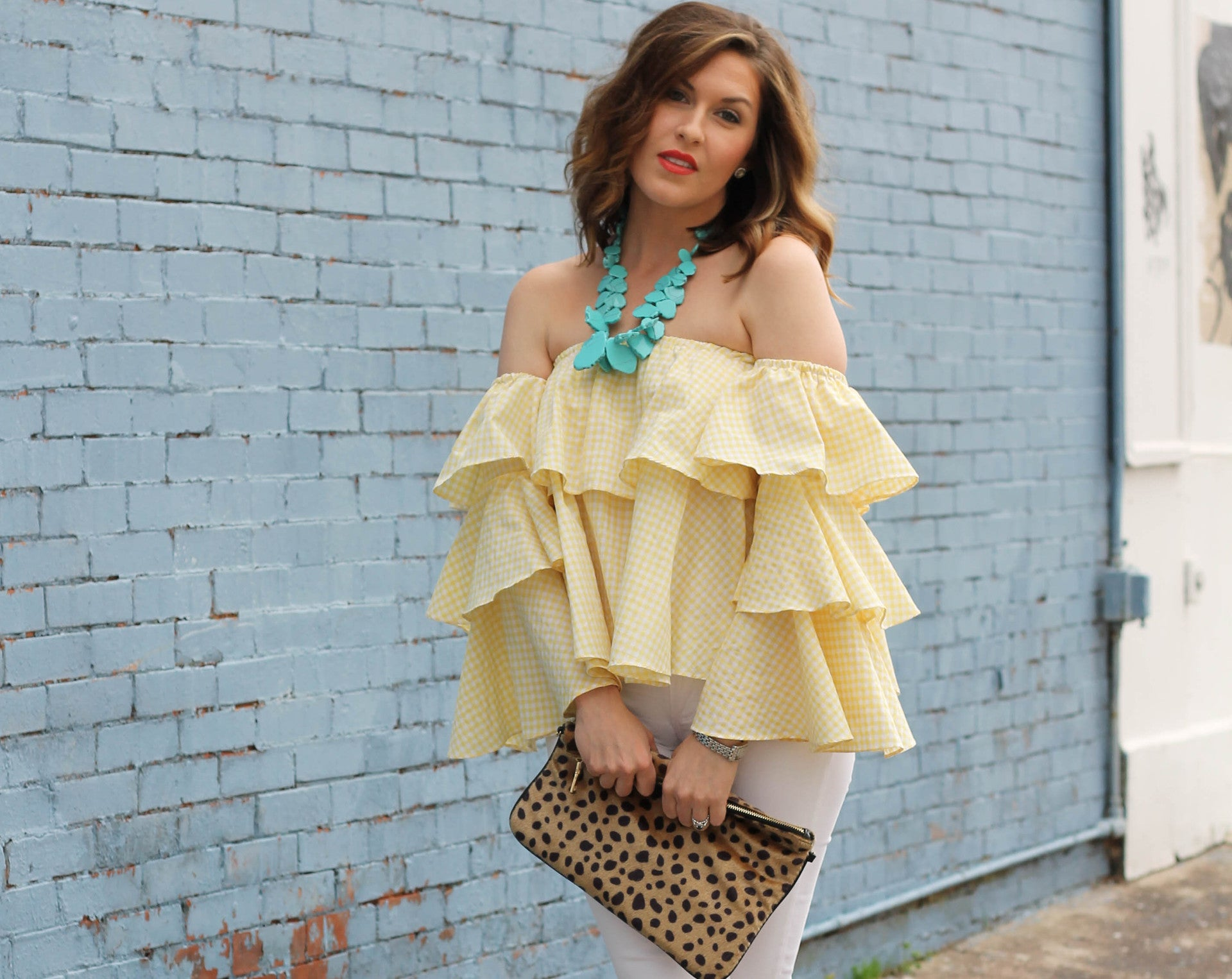 gingham off the shoulder yellow top