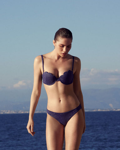 The Contour Bra Set - Navy Glimmer
