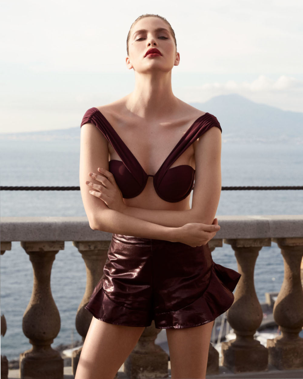 The Bardot Bustier Set - Plum