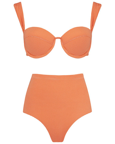 The Modern Bustier Set - Mandarin Check