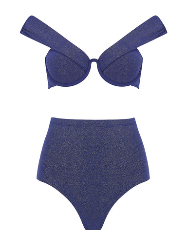 The Bardot Bustier Set - Navy Glimmer