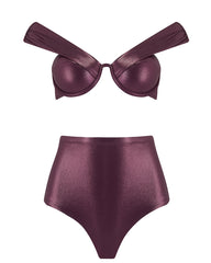 The Bardot Bustier Set - Plum Shimmer