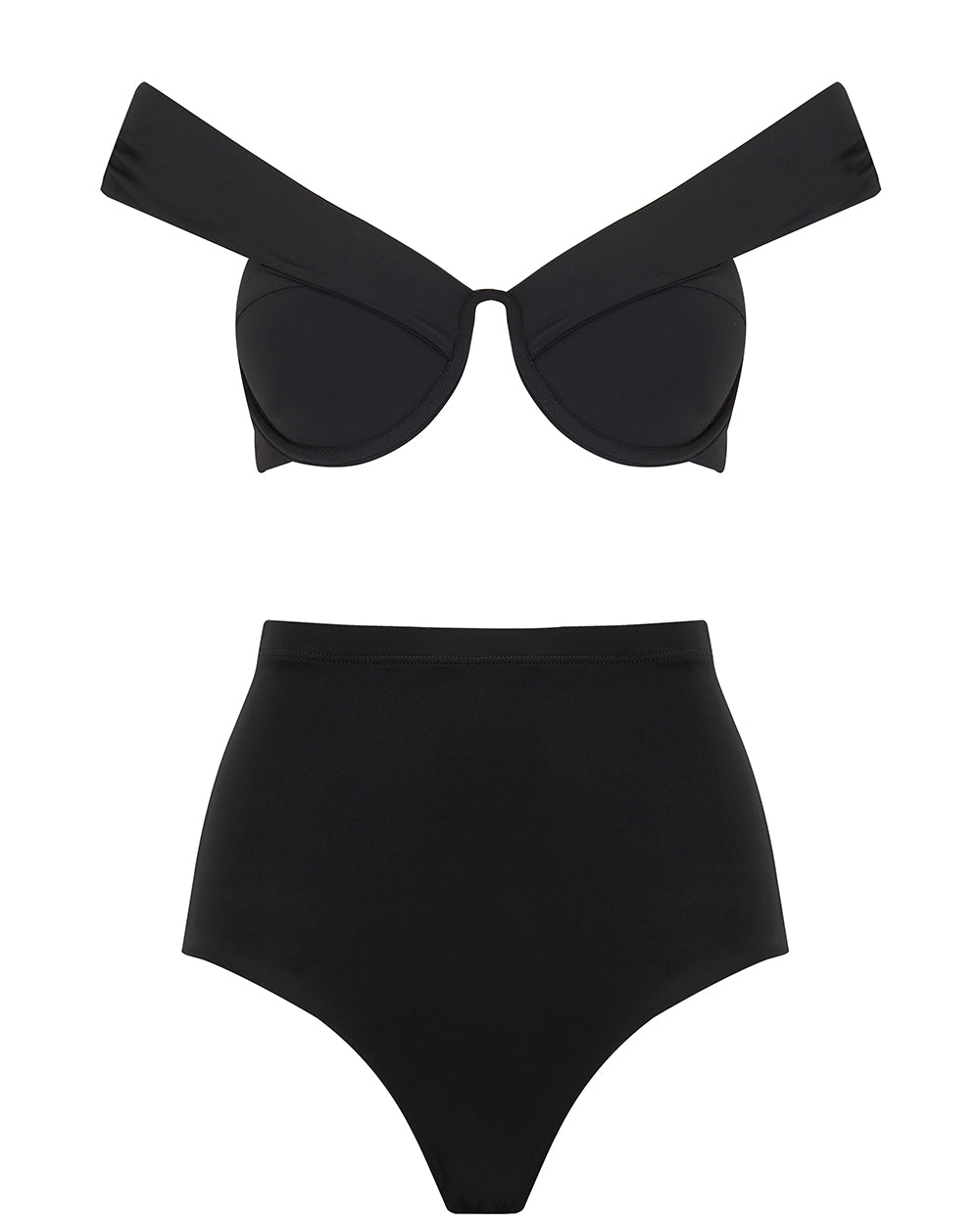 The Bardot Bustier Set - True Black
