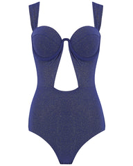 The Bustier Bodysuit - Navy Glimmer