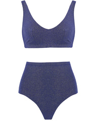 The Plunge Crop Set - Navy Glimmer