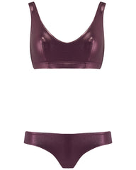 The Plunge Crop Set - Plum Shimmer