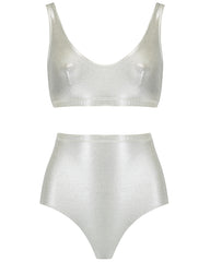 The Plunge Crop Set - Silver Shimmer (In Store ~ Selfridges)