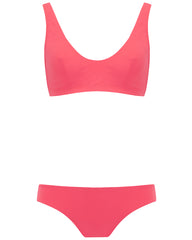 The Plunge Crop Set - Coral Rose